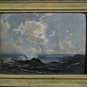 JOHN GUTZON BORGLUM (1867-1941) seascape painting dated 1903 by the sculptor of  Mt. Rushmore
