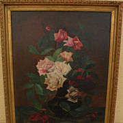 Vintage oil painting of roses in a vase
