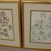 DOROTHEA WARREN O'HARA (1873-1972) **pair** of floral drawings by noted ceramicist and craftsw