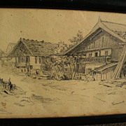 ROBERT KOEHLER (1850-1917) pencil drawing of Bavarian houses dated 1880 by noted German ...