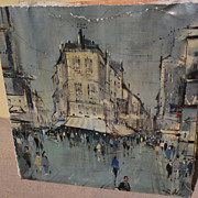 Mid century impressionist painting of Paris street scene