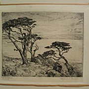 "BENJAMIN CHAMBERS BROWN (1865-1942) pencil signed drypoint etching ""Carmel Cypress"""