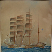 WILLIAM MINSHALL BIRCHALL (1884-1941) Watercolor and gouache painting of a French tall ship at