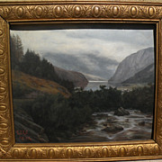 Landscape painting‏ likely by Welsh artist dated 1904 signed with initials