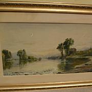 EDMUND DARCH LEWIS (1835-1910) fine American art watercolor and gouache landscape painting