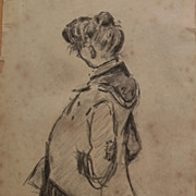 HEINRICH ZILLE (1858-1929) charcoal drawing of a standing woman by important German artist and