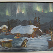 ELLEN HENNE GOODALE (1915-1991) Alaskan art oil night landscape painting including aurora and
