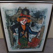 ROGER ETIENNE (1922-) mixed media collage impressionist 1972 painting of clown by noted French