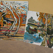 DOUGLAS SHIVELY (1896-1991) California impressionist art **PAIR** landscape paintings