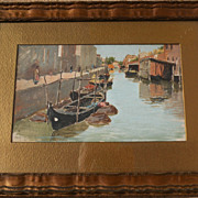 Circa 1900 impressionist oil on board painting of Italy canal
