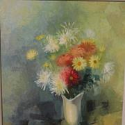 HARRY YOSHIZUMI (1922-) impressionistic 1959 modernist still life painting by Japanese America