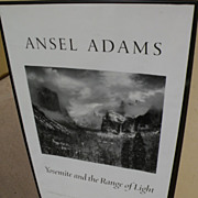 """ANSEL ADAMS (1902-1984) hand signed black and white poster """"Yosemite and the Range of Lig"""