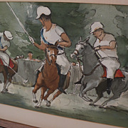 ALICE LORD MARSHALL (1895-1993) vintage watercolor painting of polo horses by listed Arizona .