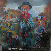 ROGER ETIENNE (1922-) very large mid century whimsical painting of clown-like musician family