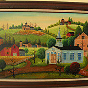 SOLD Large naive folk art style contemporary landscape painting in the style of Charles Wysock