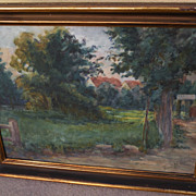 Impressionist circa 1930's watercolor landscape painting signed Flora Marrcesy
