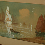 Circa 1930's impressionist watercolor and gouache harbor painting by American artist Jacob Van