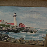 Watercolor painting of Portland Head Lighthouse Maine