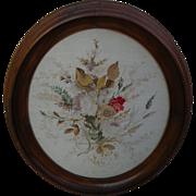 Americana folk art antique micro stitch oval needlepoint