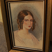 Circa 1840 fine European watercolor portrait painting of attractive young woman