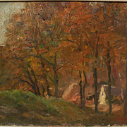 JANOS LASZLO ALDOR (1895-1944) Hungarian art impressionist autumn landscape by well listed pai