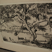 "WALTER RONALD LOCKE (1883-1949) Florida art pencil signed etching ""Peace on the Anclote"""
