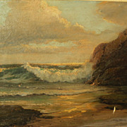 CARYL WOOD (20th century California) impressionist painting of waves on the beach by wife of R