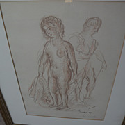 ACHILLE-EMILE OTHON FRIESZ (1879-1949) crayon drawing of two standing nudes by important Frenc