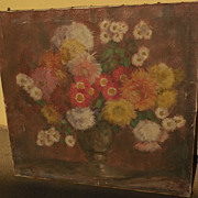 ROLF REGELE (1899-1987) impressionist still life painting of flowers in a vase by listed Germa