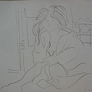 Contemporary limited edition lithograph print of female nude in interior signed