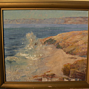California plein air art coastal scene painting likely listed artist JESSIE R. DEWITT
