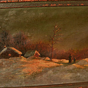 Russian art early 20th century winter night landscape painting with figures signed with initia