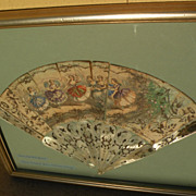 Framed Antique 19th century lady's hand fan with New Orleans history
