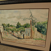 Large signed impressionist watercolor painting of a leafy street possibly in Spain