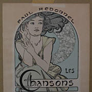 """SOLD ALPHONSE MUCHA (1860-1939) Art Nouveau printed page from """"Les Chansons Eternelles"""""""