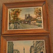 CHARLES BLONDIN (1913-) Paris impressionist street scenes **PAIR** pencil signed limited editi