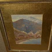 HAROLD WAITE (1870-1939) fine watercolor painting likely Italian coast by listed English artis