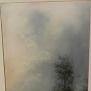 American circa 1900 pastel landscape drawing