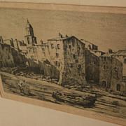 "REGINALD WILMER VAUGHAN (1870-1958) etching ""Fishermen's Houses Saint Tropez"" by not"