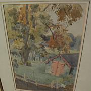 "ROBERT JOHN SWAN (1888-1980) fine vintage watercolor painting ""The Garden Shed"""