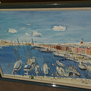 WALLACE HOWARD (1882-1959) large impressive watercolor painting of harbor of Marseilles, Franc