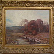 ALFRED HEBER HUTTY (1877-1954) impressionist autumn landscape painting by noted Woodstock and