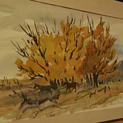 Beautiful impressionist landscape watercolor of horses and autumnal trees signed PAMELA MASON
