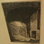 ALICE STANDISH BUELL (1892-1964) pencil signed etching of New Orleans courtyard by noted Ameri