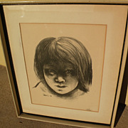 MAURICE MERLIN (1909-1947) original lithograph print of young girl 1939 by listed Midwest and