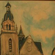 """MAURICE UTRILLO (1883-1955) French art Chalcographie du Louvre aquatint print """"L'Eglise d"""