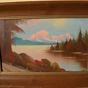 Vintage cabin art style painting lake and mountains circa 1950