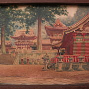 Fine detail large old signed original watercolor painting of Japanese temple possibly Toshogu