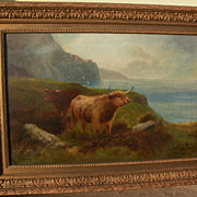 Scottish art highland cattle painting after Louis Bosworth Hurt (1856-1929)
