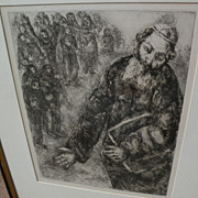 """MARC CHAGALL (1887-1985) original etching print """"Joshua Reads the Word of the Law"""" f"""